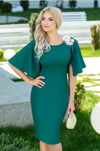 Rochie Angela verde de ocazie cu brosa florala