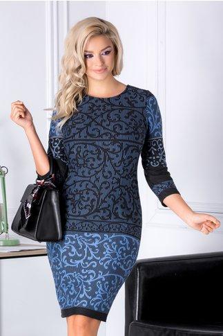 Rochie Angella neagra cu imprimeuri bleu