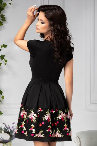 Rochie Angy neagra cu broderie florala