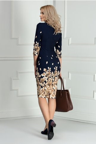 Rochie Ani bleumarin cu trandafiri maro