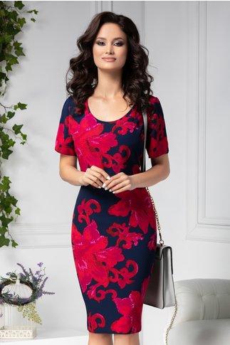 Rochie Ania vaporoasa bleumarin cu flori mari rosii