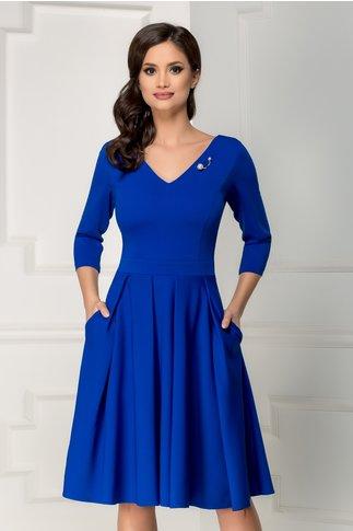 Rochie Aniela albastra midi cu buzunare