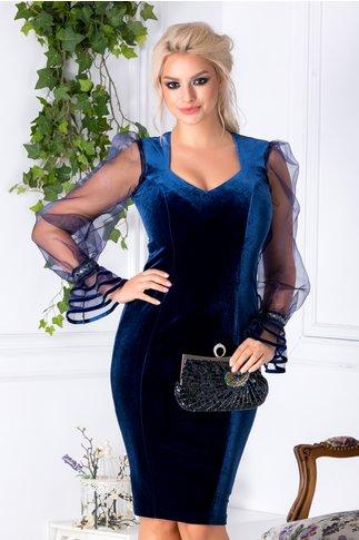 Rochie Aniela bleumarin din catifea si maneci din organza