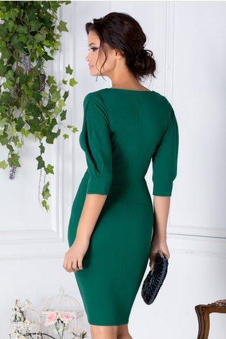 Rochie Aniela conica verde petrecuta cu pliuri