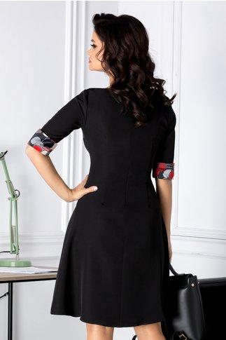 Rochie Aniela neagra cu imprimeuri cu buline la bust
