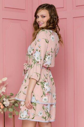 Rochie Aniela roz cu imprimeu floral pastelat