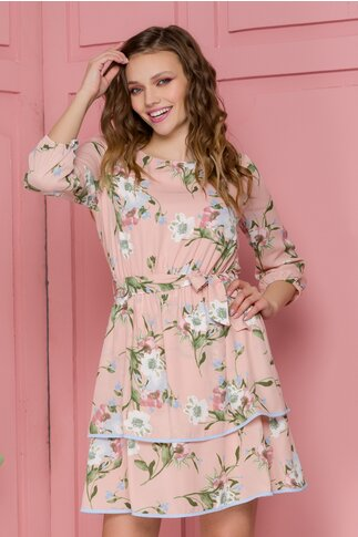 Rochie Aniela roz pal cu imprimeu floral