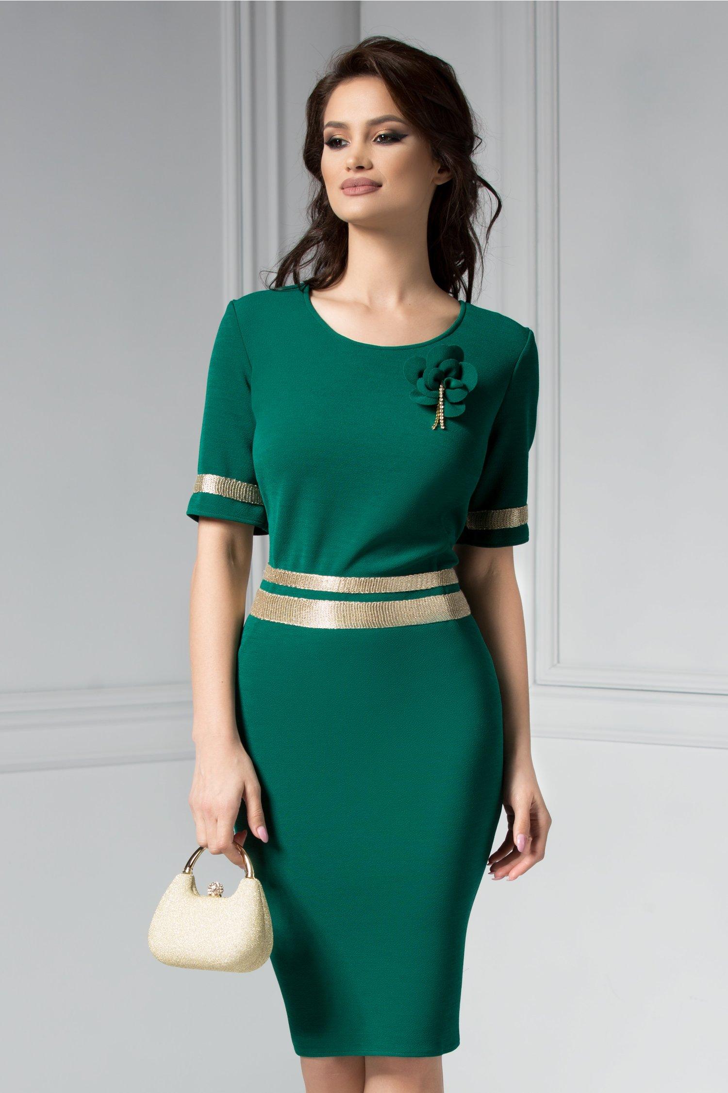 Rochie Aniela verde de ocazie cu brosa