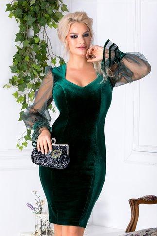 Rochie Aniela verde din catifea si maneci din organza