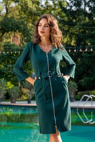 Rochie Aniela verde inchis cu fermoar si cordon in talie