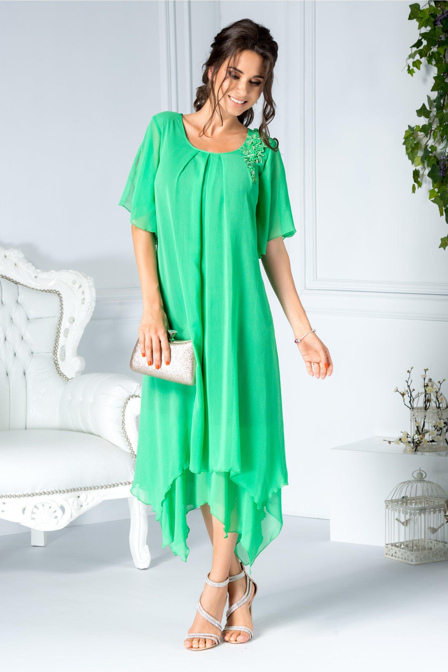 Rochie Anina midi verde din voal cu broderie si perle