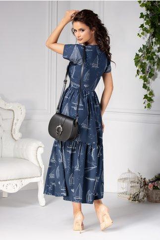 Rochie Anisa lunga casual bleumarin cu imprimeuri