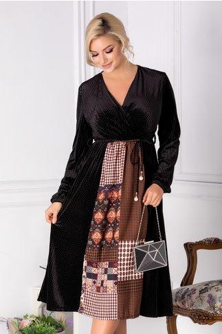 Rochie Anisa neagra cu imprimeu divers