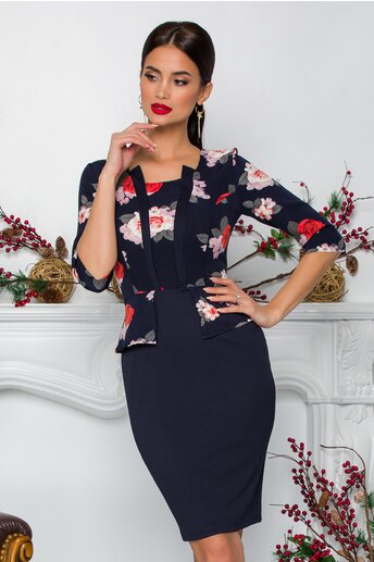 Rochie Anisia bleumarin cu trandafiri