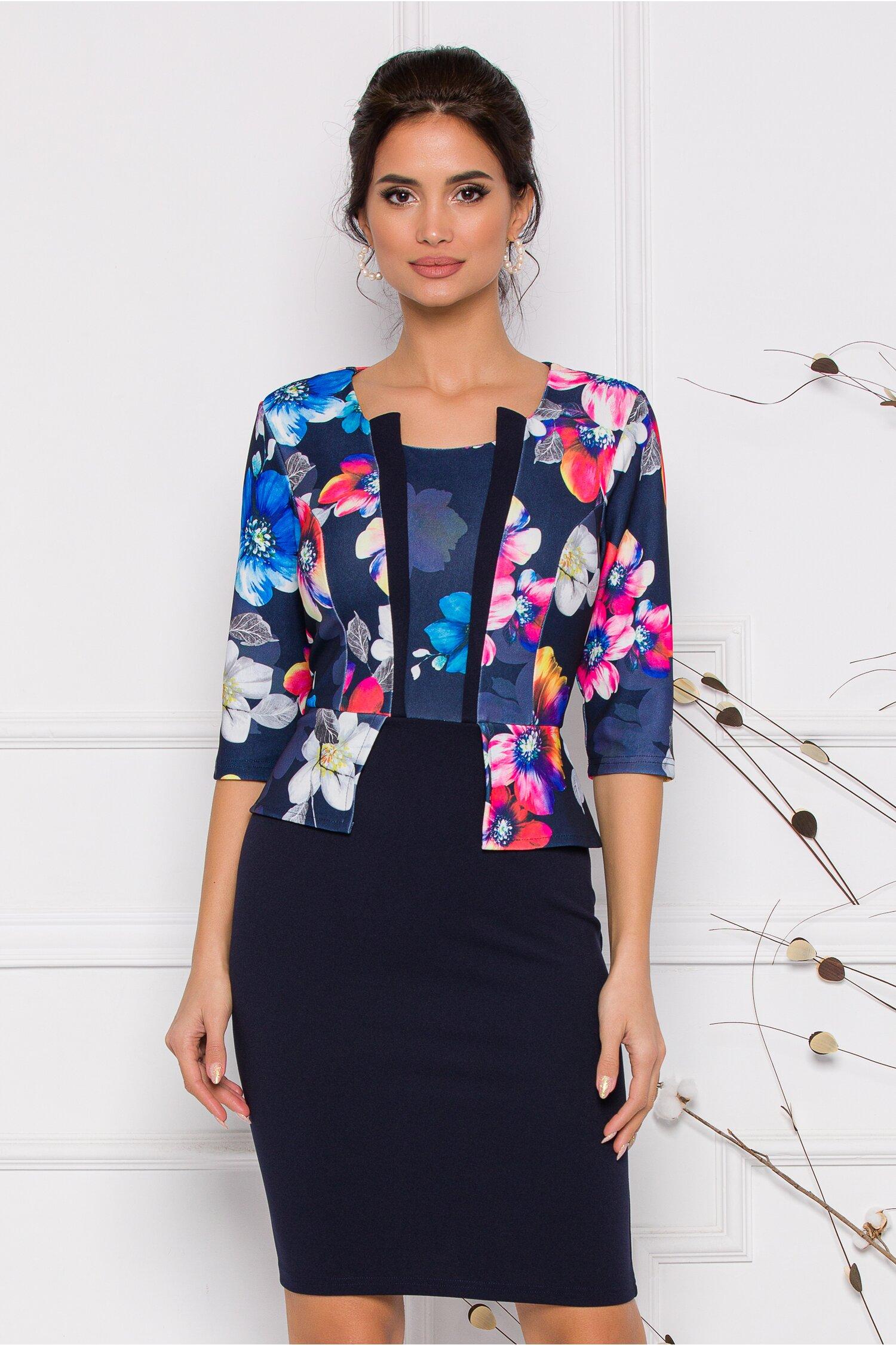 Rochie Anisia bleumarin imprimeu floral multicolor imagine