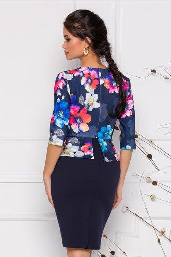 Rochie Anisia bleumarin imprimeu floral multicolor