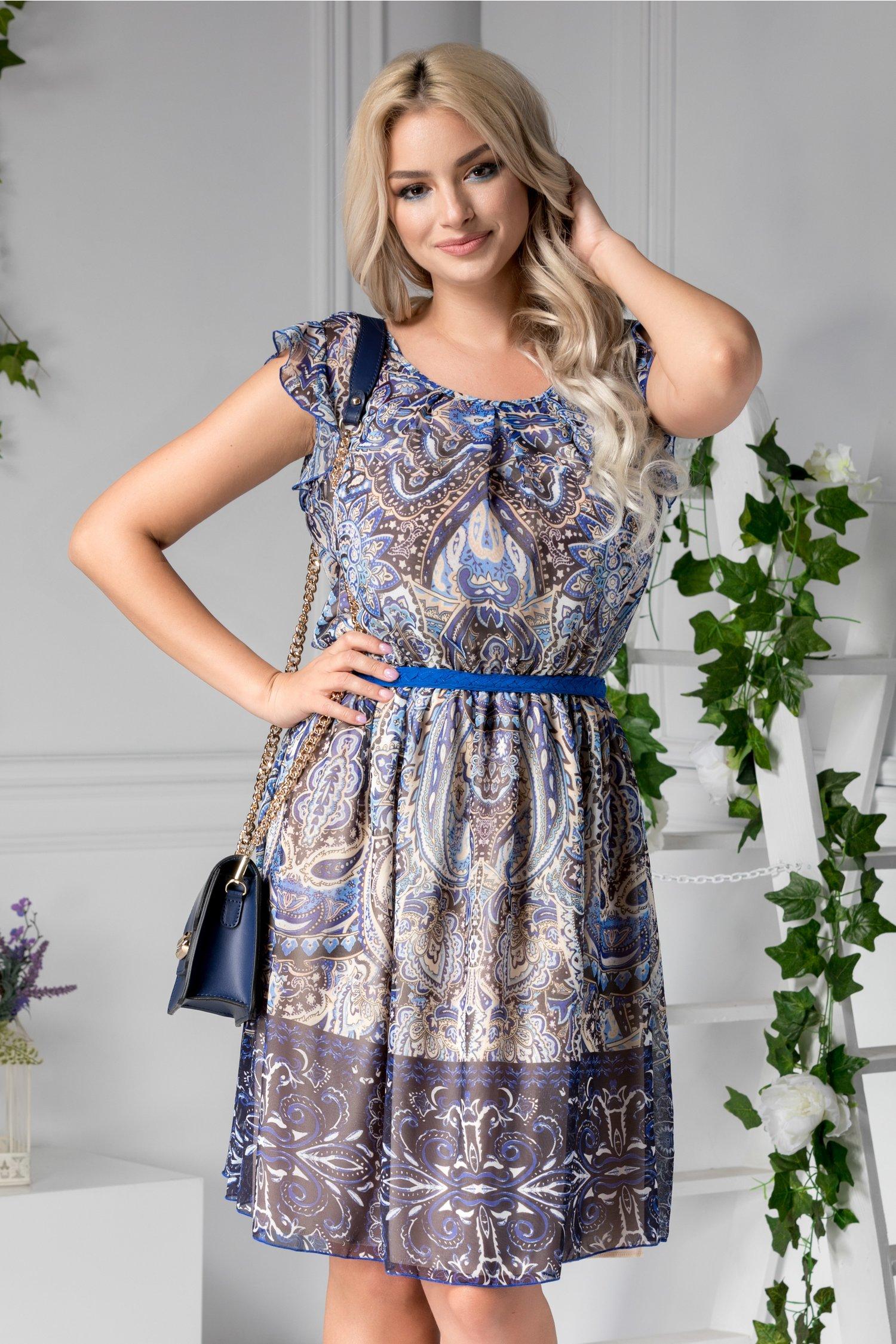 Rochie Anisia de zi cu imprimeu albastru