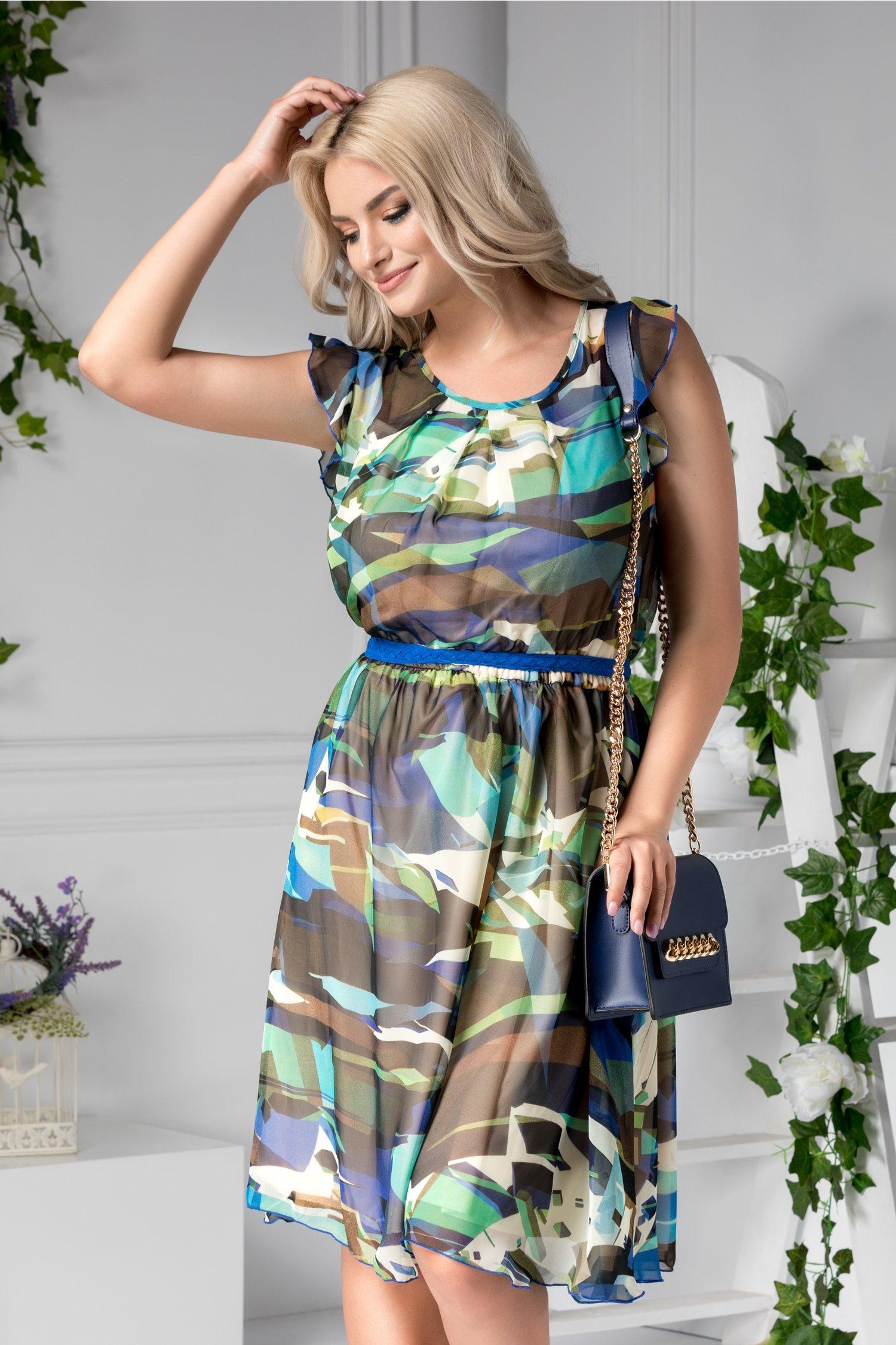Rochie Anisia de zi cu imprimeu divers colorat