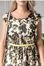 Rochie Anisia de zi cu imprimeu negru si galben