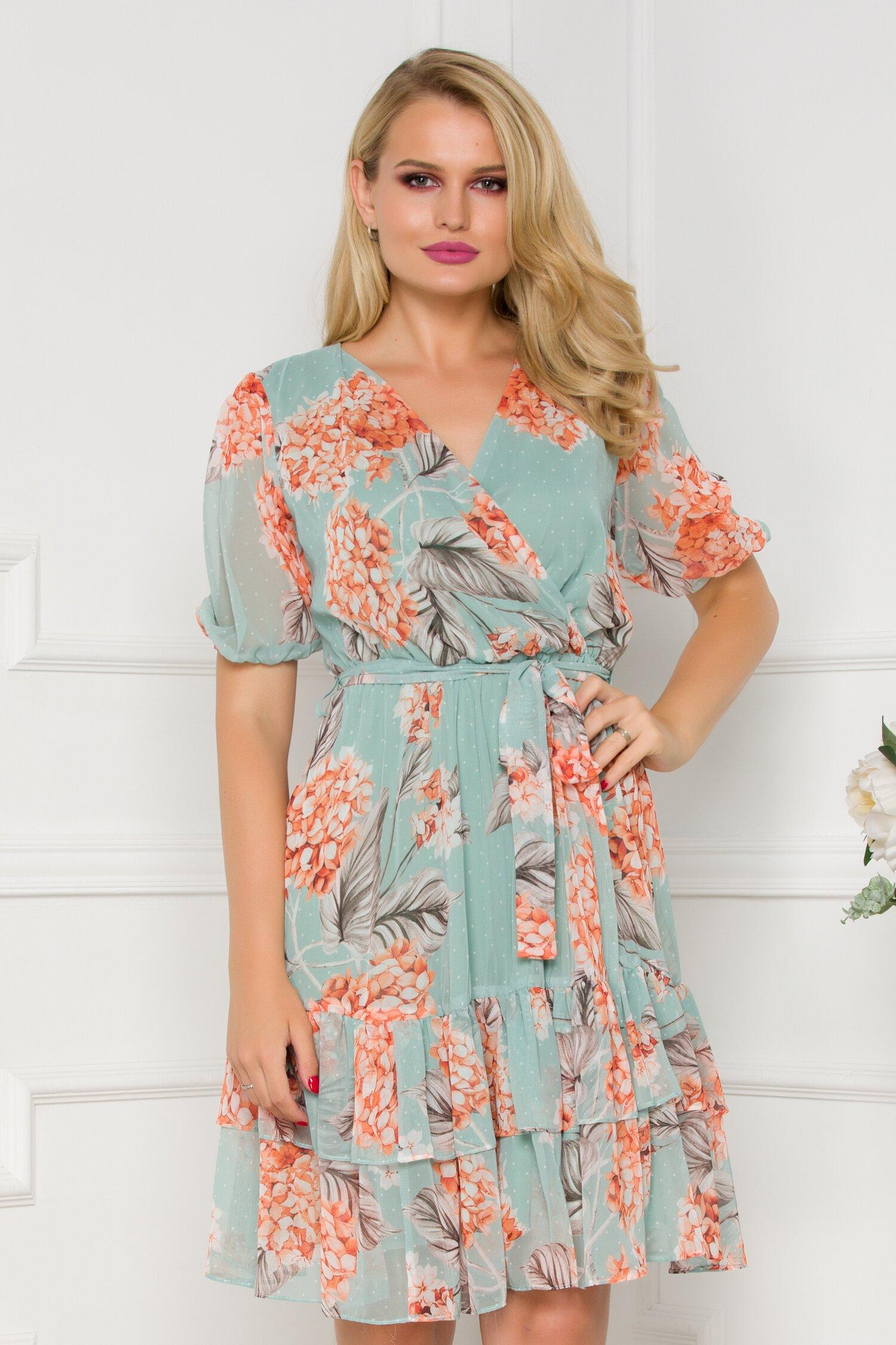 Rochie Anisia verde mint cu imprimeuri florale orange
