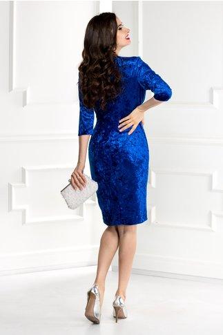 Rochie Anissa albastra din catifea cu reflexe si broderie