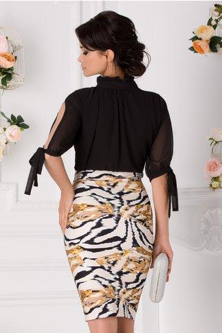 Rochie Anissia negru cu crem si imprimeu divers