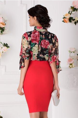Rochie Anissia rosu cu negru si imprimeu floral