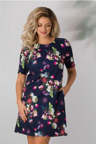 Rochie Anita bleumarin cu imprimeu floral colorat