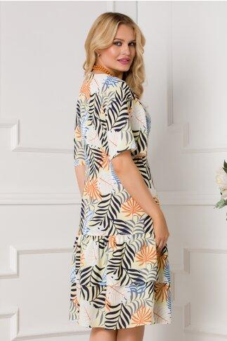 Rochie Anita galbena cu imprimeu tropical