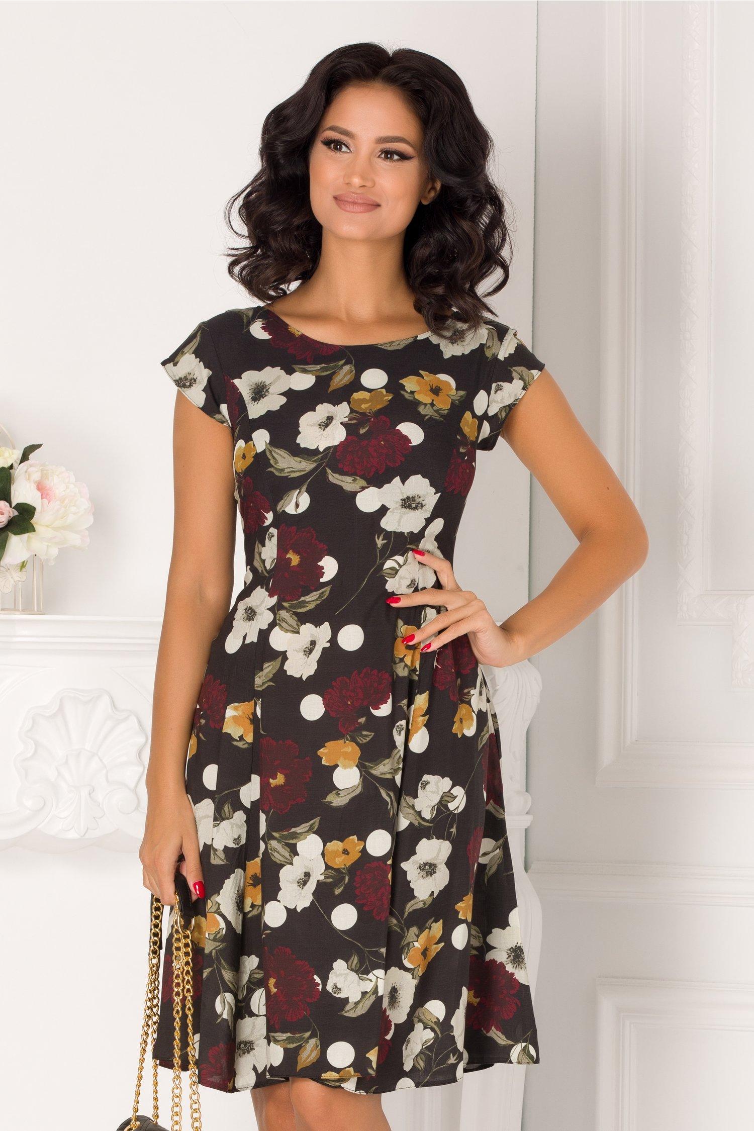 Rochie Ann neagra cu imprimeu floral