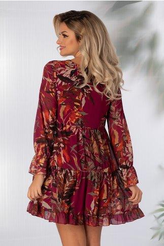Rochie Anna magenta cu imprimeu cu frunze in nuante de caramiziu