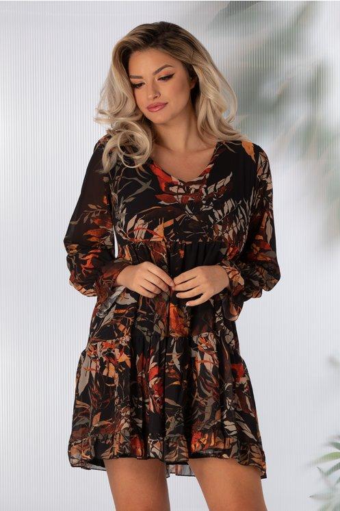 Rochie Anna neagra cu imprimeu cu frunze in nuante de caramiziu
