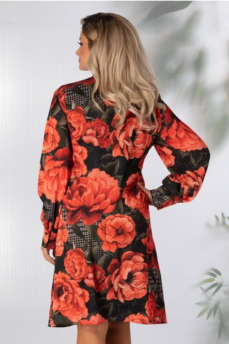 Rochie Anna neagra cu imprimeu floral rosu