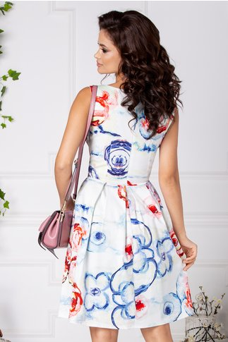 Rochie Annely alba clos cu imprimeu rosu-albastru