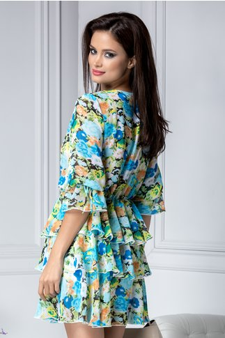 Rochie Annemarie vaporoasa de vara bleu cu flori
