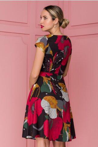 Rochie Annie neagra cu imprimeu floral in nuante caramizii
