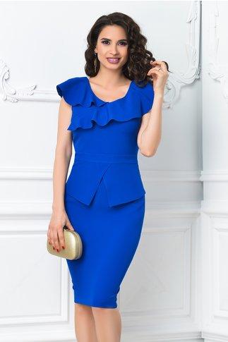 Rochie Annis albastra midi cu volanase