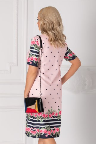 Rochie Antonia roz cu buline, dungi si trandafiri