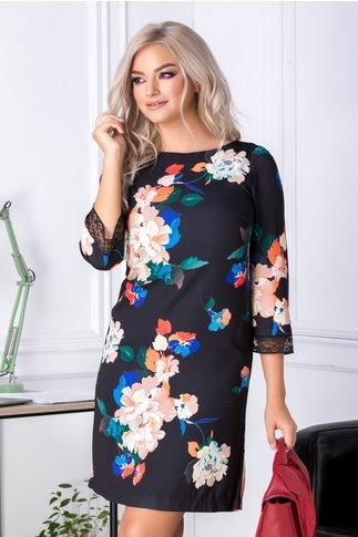 Rochie Any neagra cu imprimeu floral