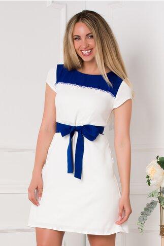 Rochie Anya alba cu insertii albastre