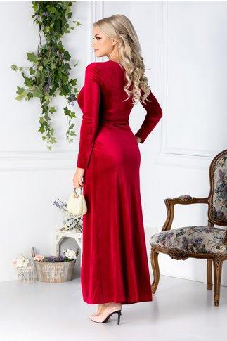 Rochie Anya lunga rosu din catifea