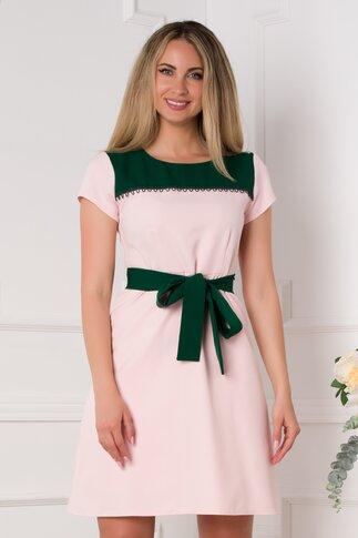 Rochie Anya roz pal cu insertii verzi