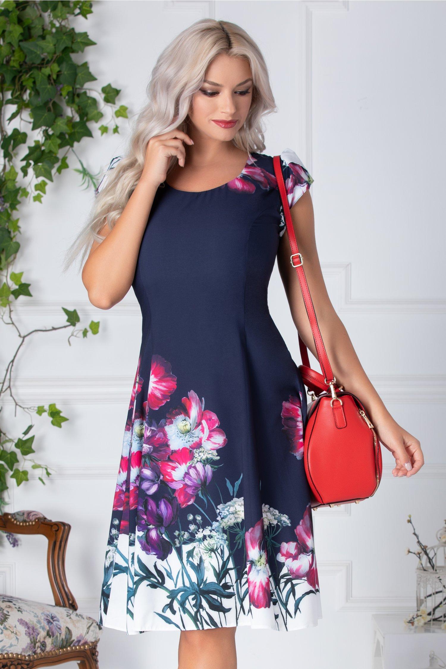 Rochie April de vara bleumarin cu flori mov si fucsia