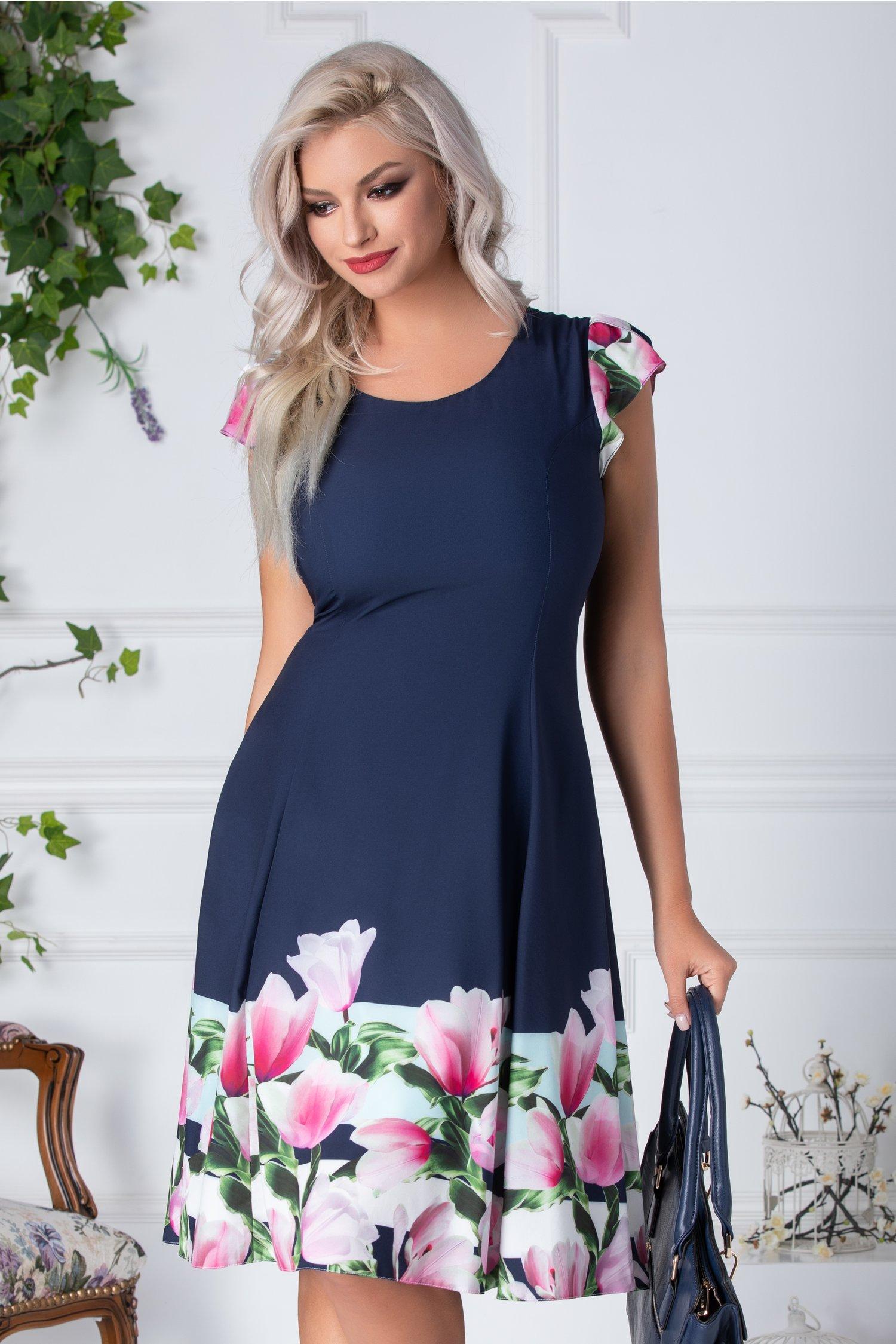 Rochie April de vara bleumarin cu lalele roz