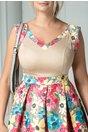 Rochie Arabela clos bej cu detalii florale colorate