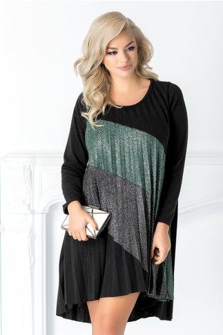 Rochie Arabela neagra cu imprimeu verde si gri