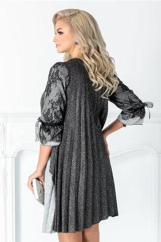 Rochie Arabela negru cu gri si maneci din dantela