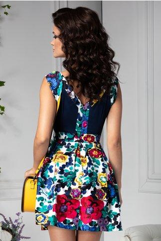 Rochie Arabella bleumarin cu flori multicolore