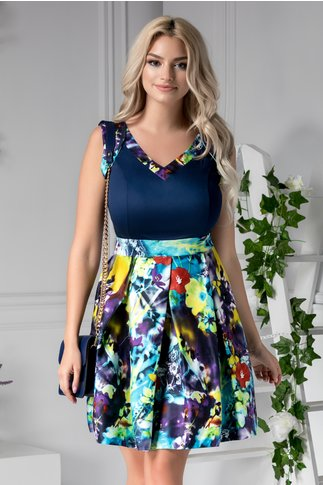 Rochie Arabella clos bleumarin cu imprimeuri colorate