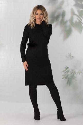 Rochie Arabella neagra cu buzunar accesorizat cu blanita